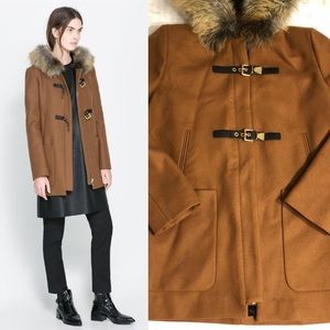 Zara  Wool Blend Cognac Hooded Coat Medium